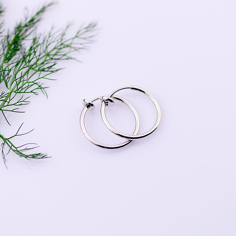 1 pair Clip On Fake Nose Hoop Ring Ear Lip Earrings Body Non Piercing Jewelry