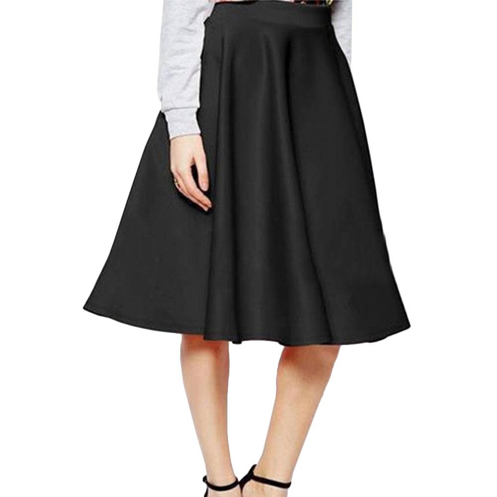 Women's Vintage Casual Stretch High Waist Skater Pleated Long Skirt Dress