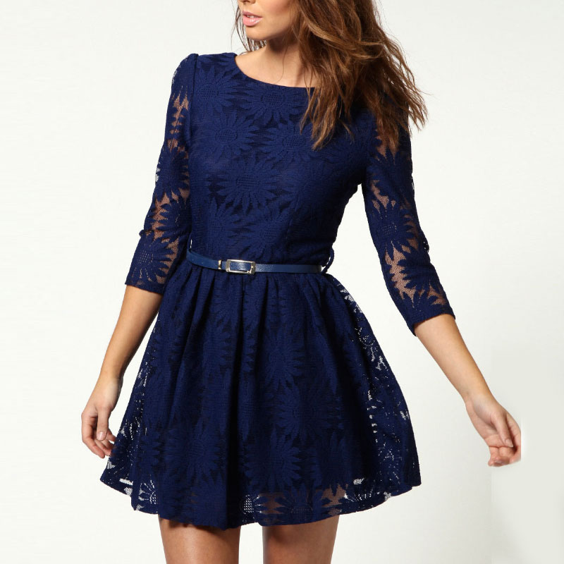 Women's Long Sleeve Slim Lace Flower Evening Party Sexy Lady Mini Dresses