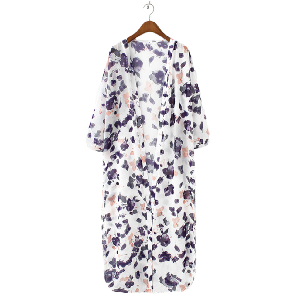 Women Fashion Floral Sunblock Chiffon Coat Jacket Trench Kimono Long Cardigan