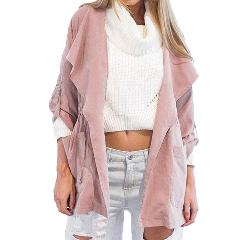 Women's Fashion Hooded Windbreaker Jacket Turndown Collar Overcoat Outwear Coat