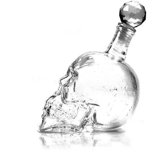 Whiskey Drink Tool kit Ice Cube Soapstone/Crystal Skull Head Bone Cup/Bottle