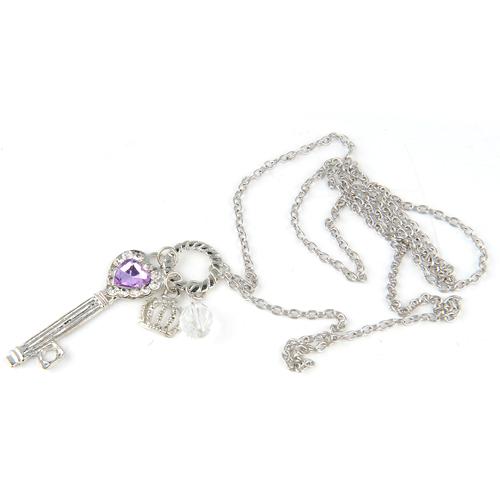 1X Fashion Vintage Silver Color Long Chain Heart Key