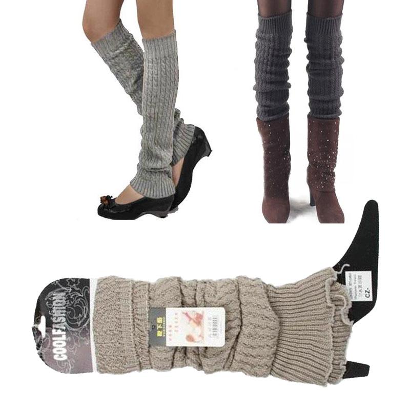 Hot Women Knit Stocking Stripe Leg Warmer Socks Legging Finger Gloves AS013#