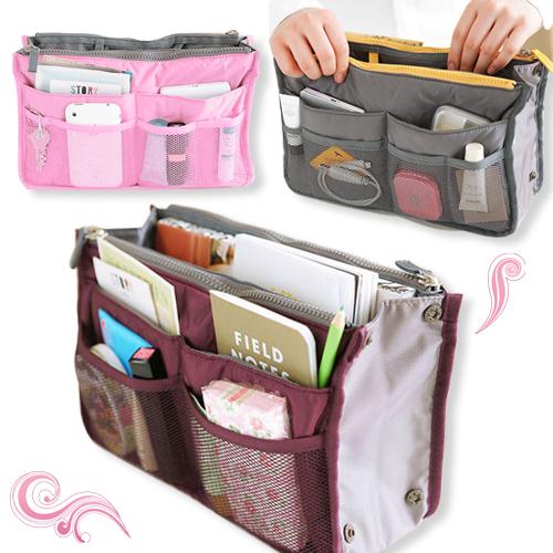 korean inside outside insert handbag makeup cosmetic purse travel organizer bag ebay