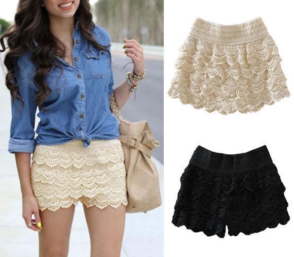 korean fashion womens sweet cute crochet tiered lace shorts skorts short pants ebay. Black Bedroom Furniture Sets. Home Design Ideas