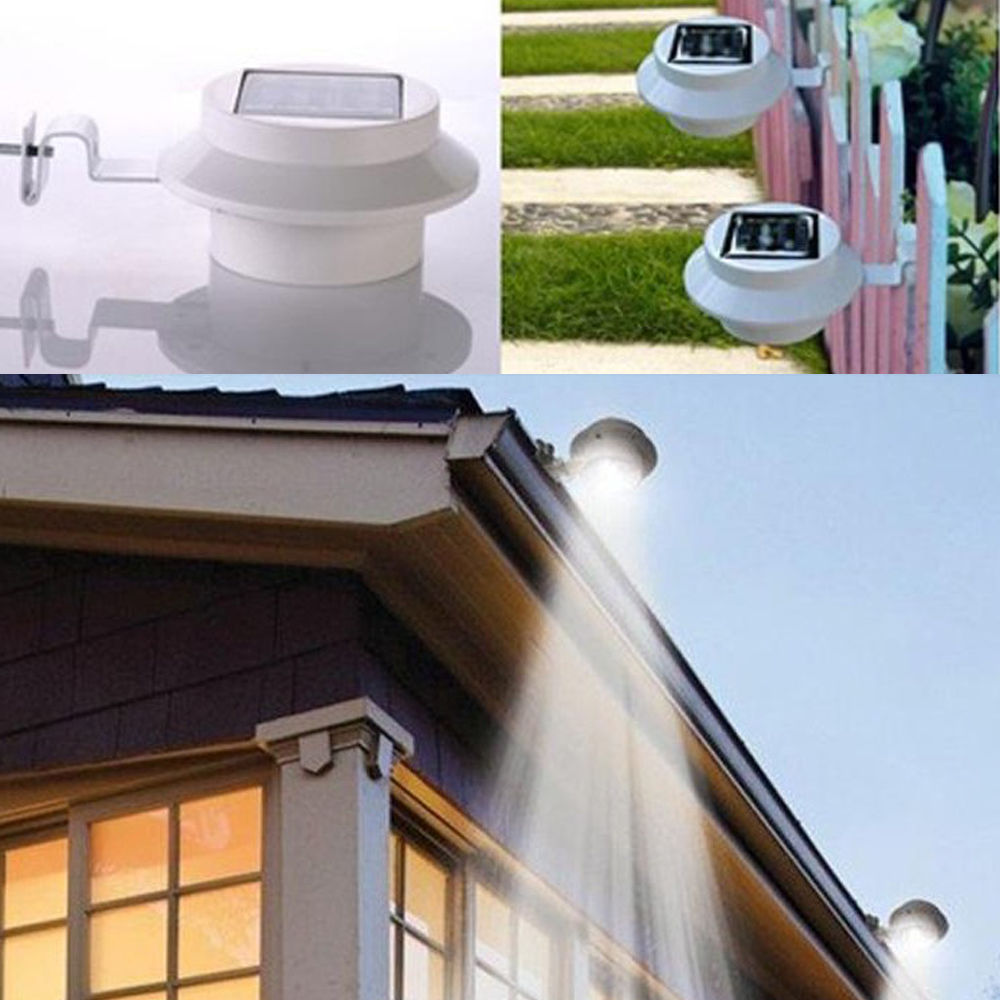 outdoor solar powered led garden ground fence wall mount