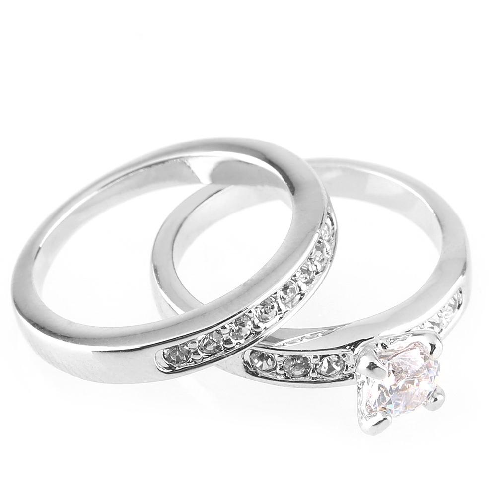 18k white gold plated ring set wedding promise