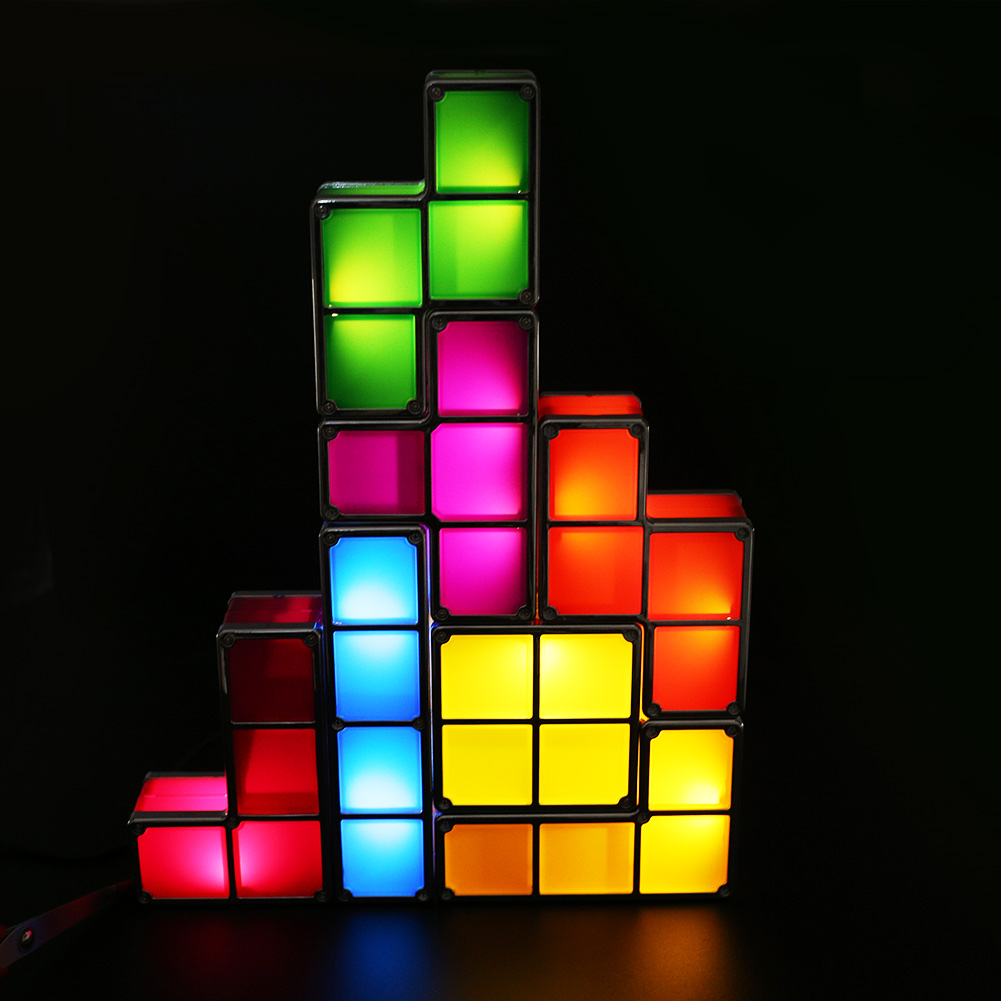 tetris stackable led desk lamp diy constructible super fantastic night. Black Bedroom Furniture Sets. Home Design Ideas