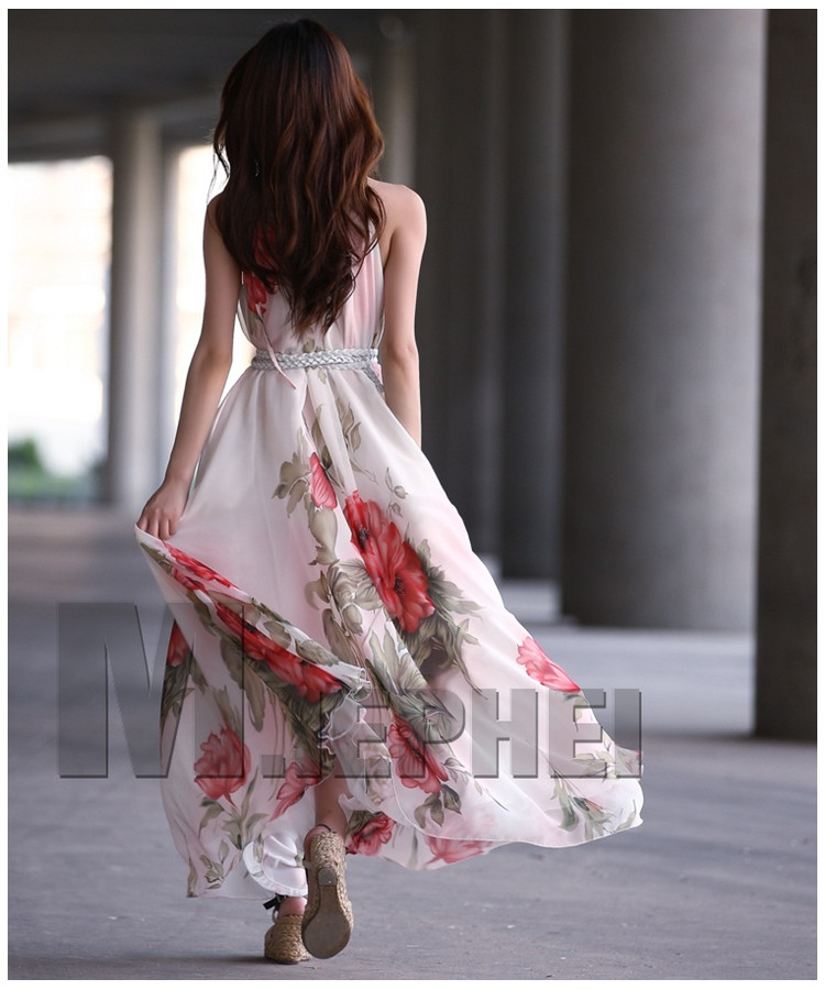 Boho Floral Dresses Summer Maxi Sleeveless Chiffon Long Dress Gown jkj