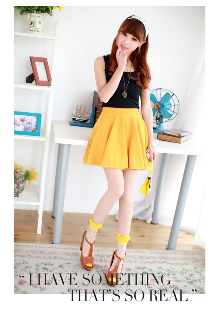 Fashion A-line High Waist Short Plain Flared Pleated Sheer Skater Mini Skirts