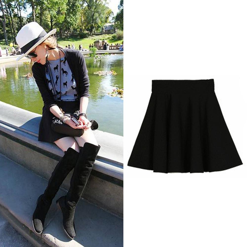 Womens-High-Waist-Short-Plain-Flared-Pleated-Sheer-Skater-Fippy-Mini-Skirt