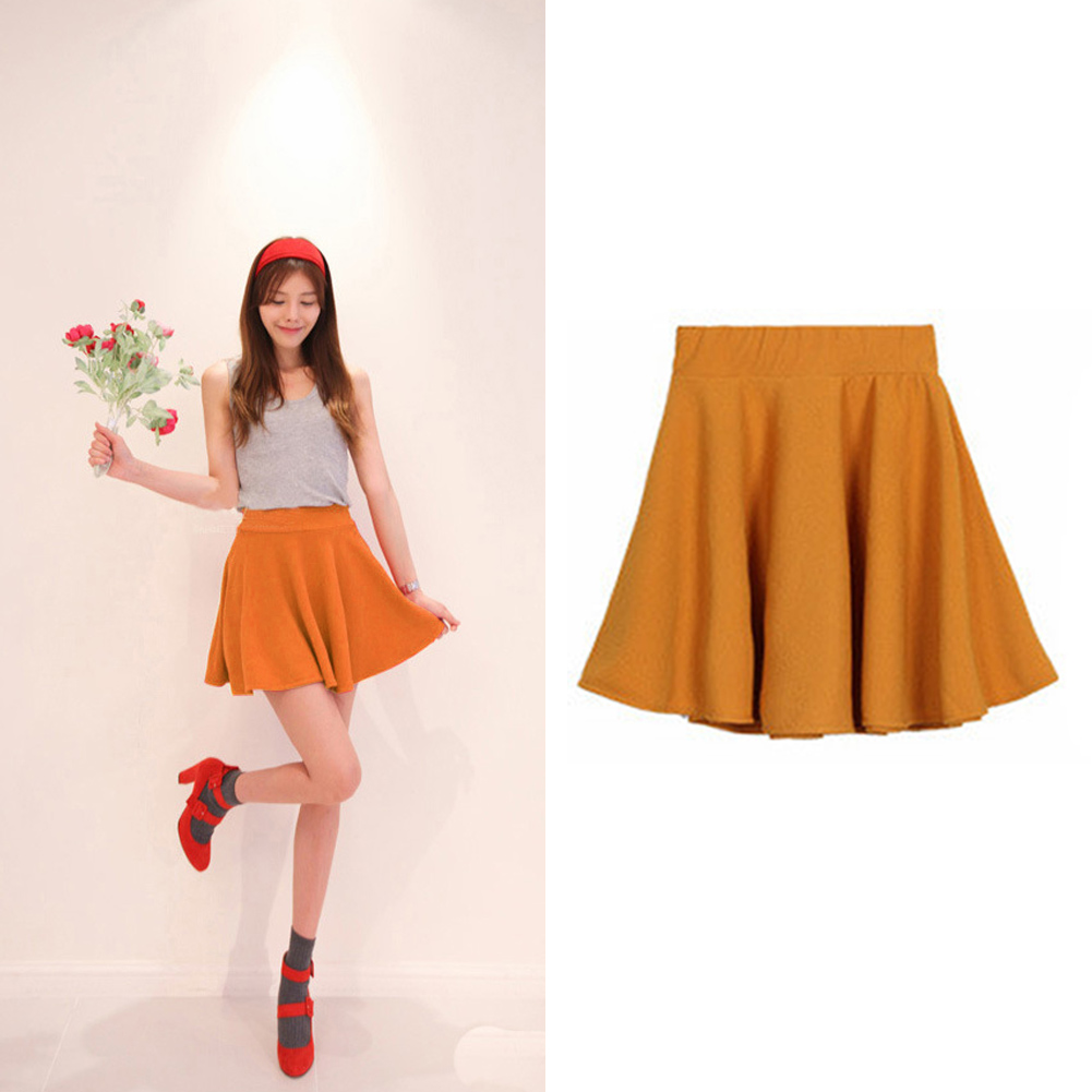 Fashion Women A-line High Waist Short Skater Plain Dress Pleated ...