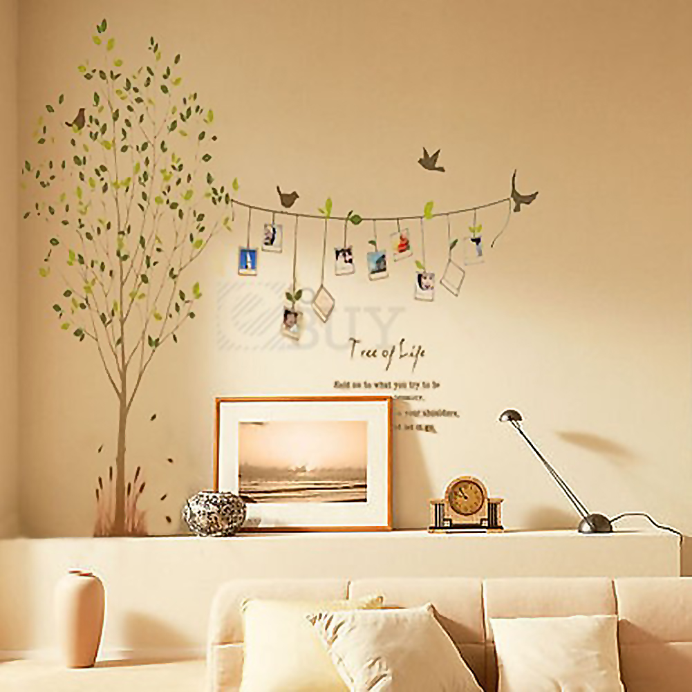 Vivid tree words photo frame removable decal wall decor for Bedroom wall decals