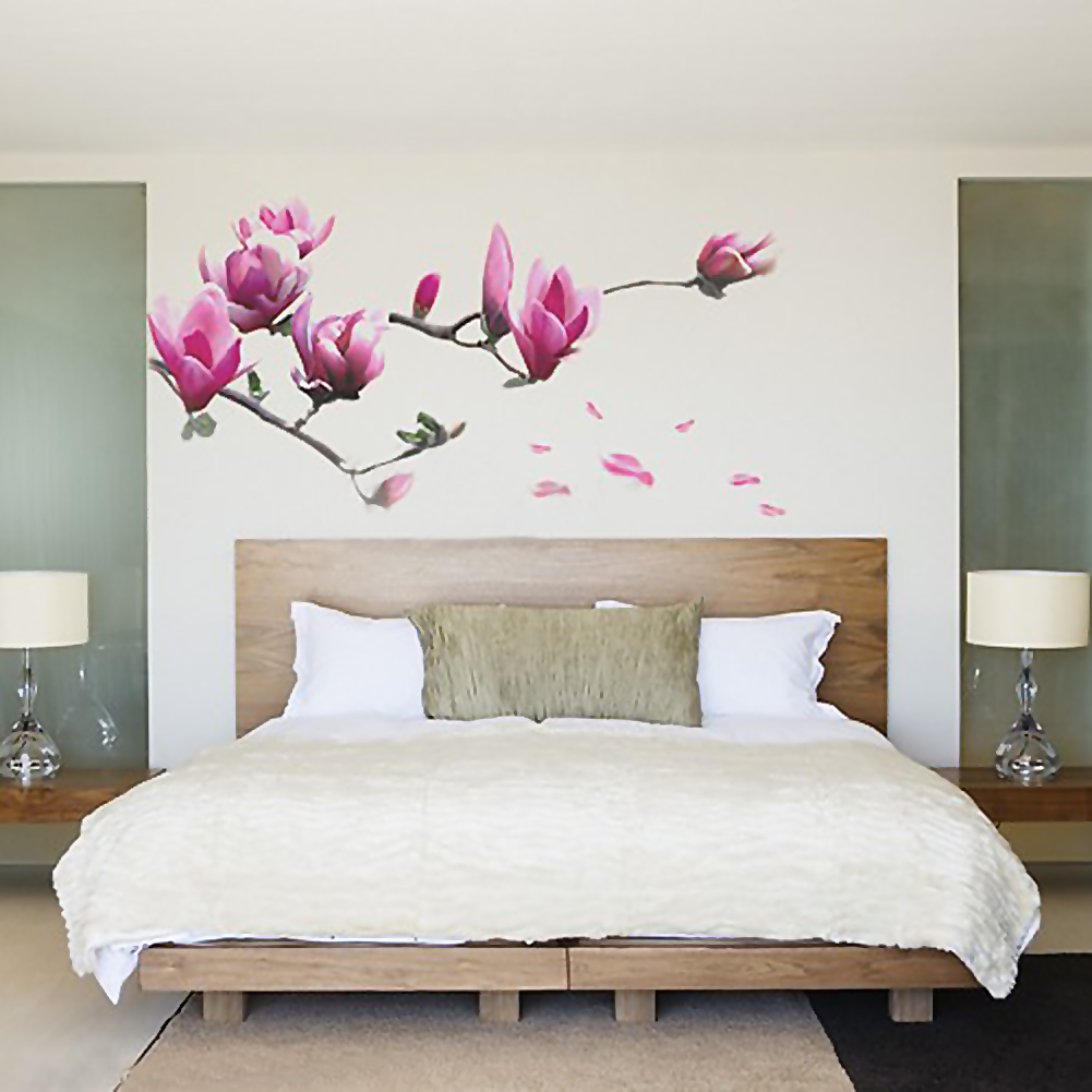 Home magnolia flower vinyl decals wall stickers removable for Diy wall photo mural