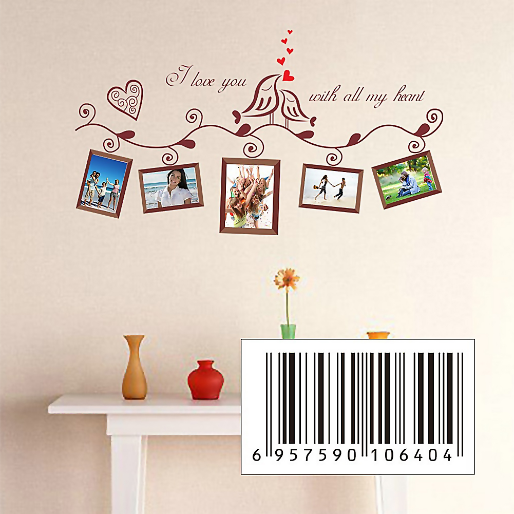 Love birds letters removable wall sticker decals art home for Diy photographic mural