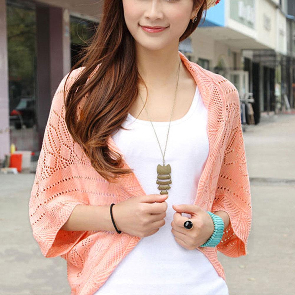 Women Ladies Knitted Crochet Kimono Tops Hollow Cardigan Blouse Blazer Jacket