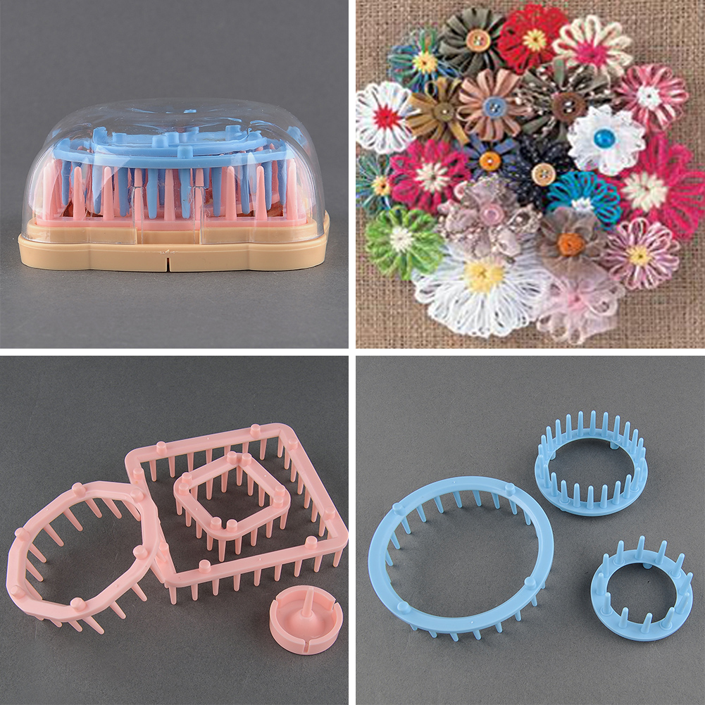 Knitting Loom Kit : Pompom maker fluff ball sizes round square flower