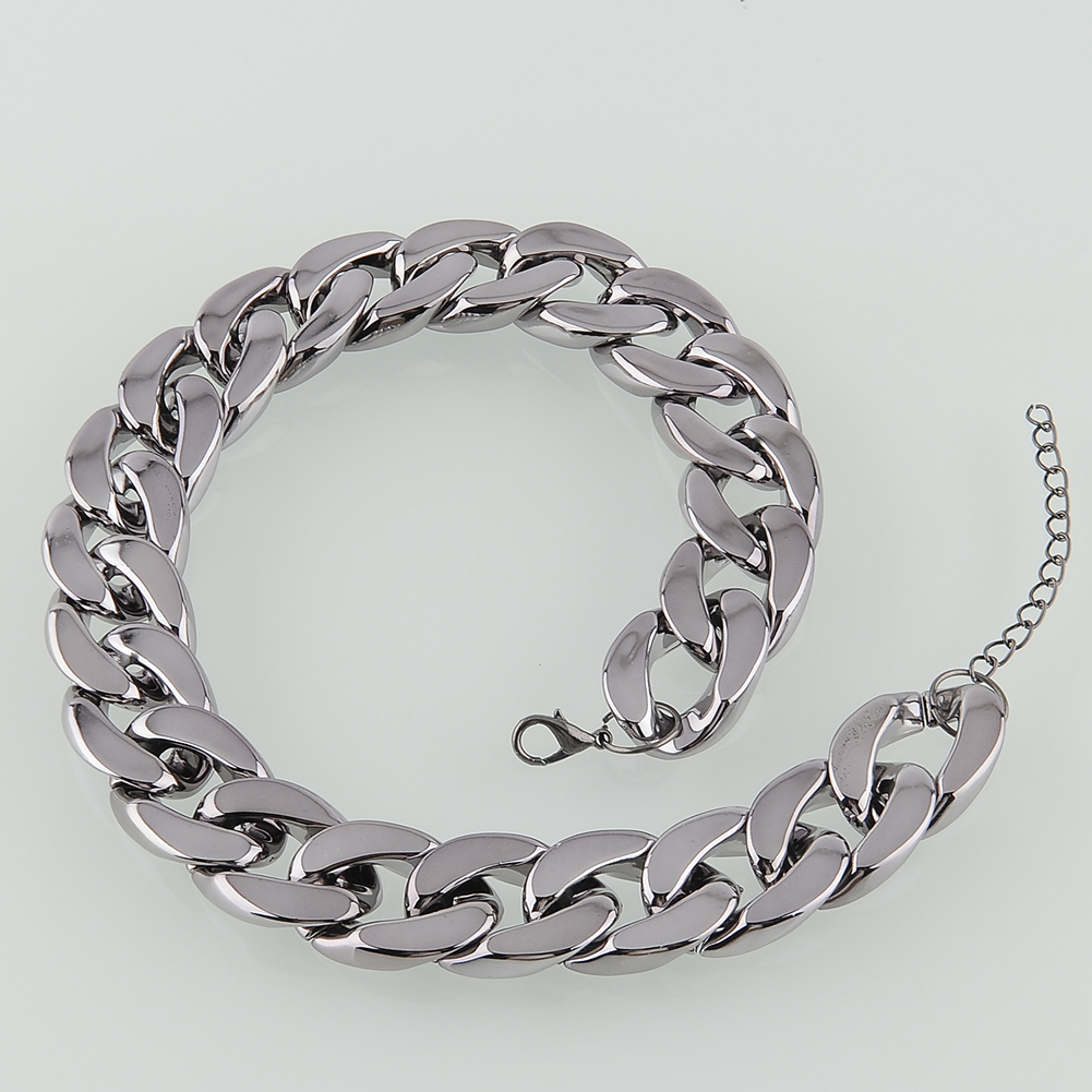 Ladys Simple Design Gun Chunky Curb Chain Necklace Fashion Pendant Gift