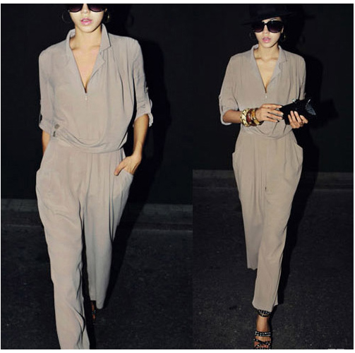 New Fashion Womens Slim High Waist Long Sleeve Chiffon Jumpsuits Romper M L XL