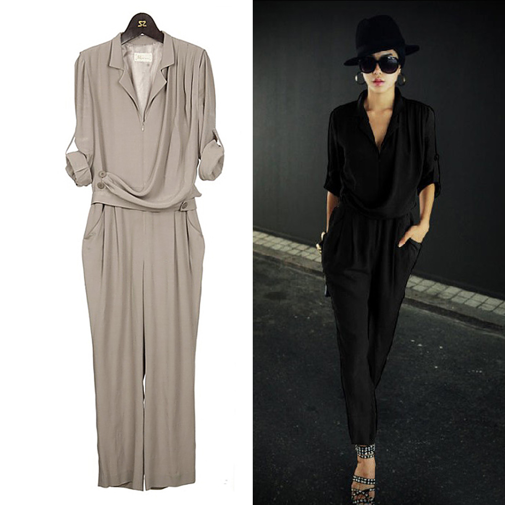 New-Fashion-Womens-Slim-High-Waist-Long-Sleeve-Chiffon-Jumpsuits-Romper-M-L-XL