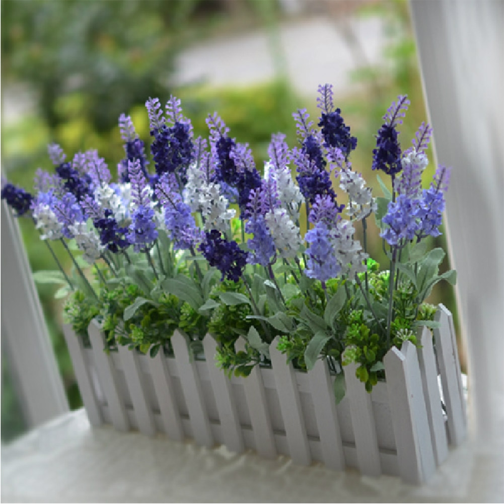1 bouquet purple white artificial lavender silk flower for Artificial flowers decoration for home