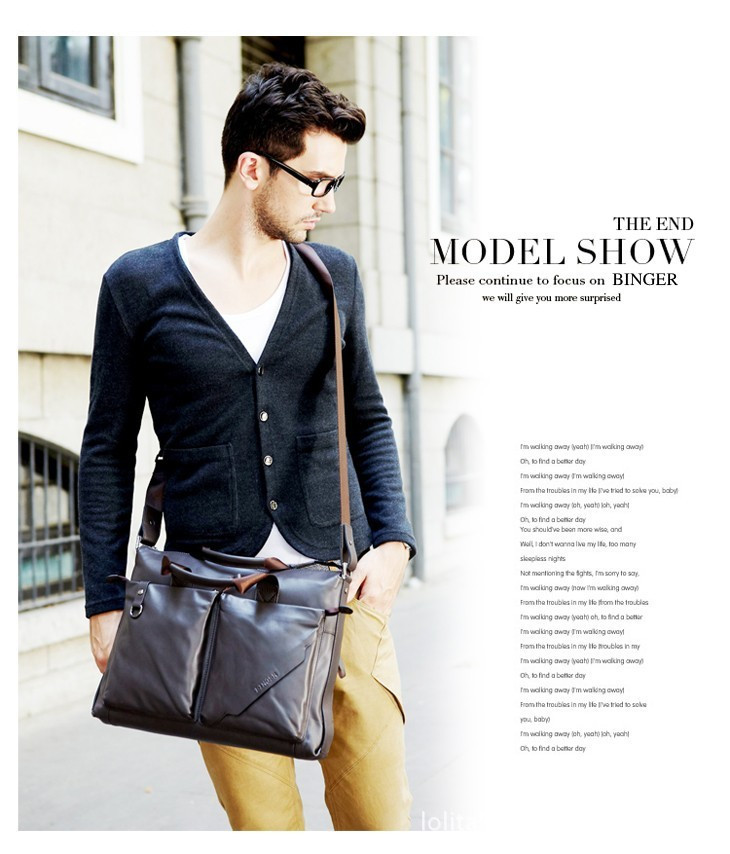 New Mens Genuine Leather Handbag Messenger Shoulder Briefcase Laptop BAG JKK
