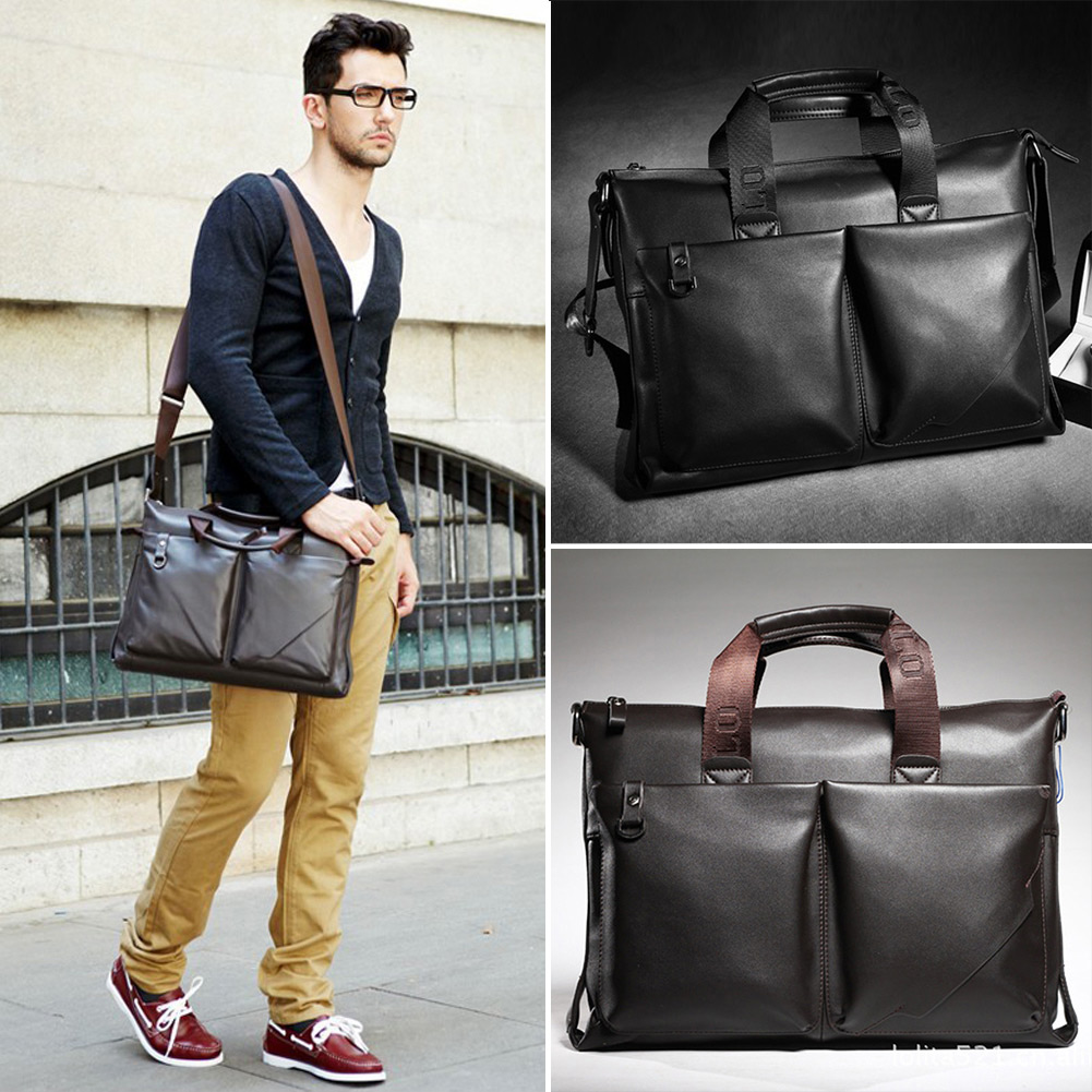 New-Mens-Genuine-Leather-Handbag-Messenger-Shoulder-Briefcase-Laptop-BAG-JKK