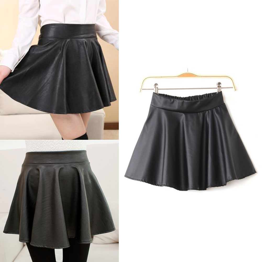 Fashion Chic Womens Black Red Faux Leather Mini Skirt High Waist Pleated Skater