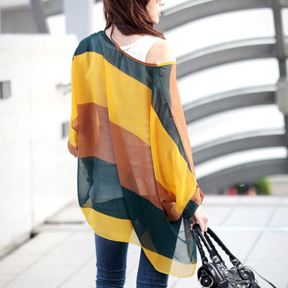 Oversize-New-Fashion-Batwing-Blouse-Tops-Loose-Shirt-Chiffon-Womens
