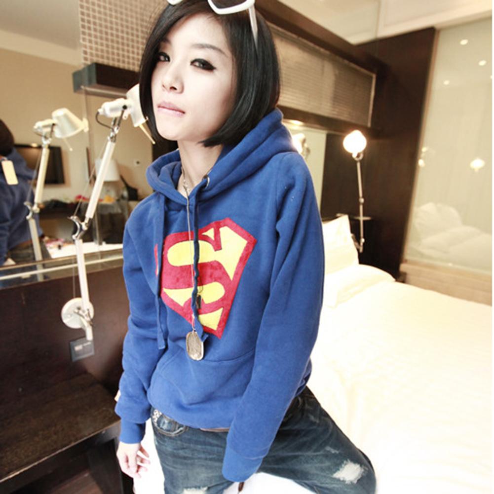 Fashion Women Superman Logo Hoodie Sweatshirt Tops Outerwear Loose Blue XL