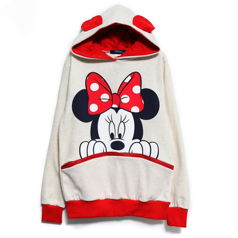 Cute Girls Womens Mickey Minnie Mouse Ear Emo Sweater Shirt Jumper