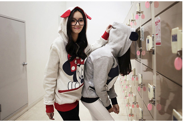 Cute Girls Womens Mickey Minnie Mouse Ear Emo Sweater Shirt Jumper Hoodie Hooded