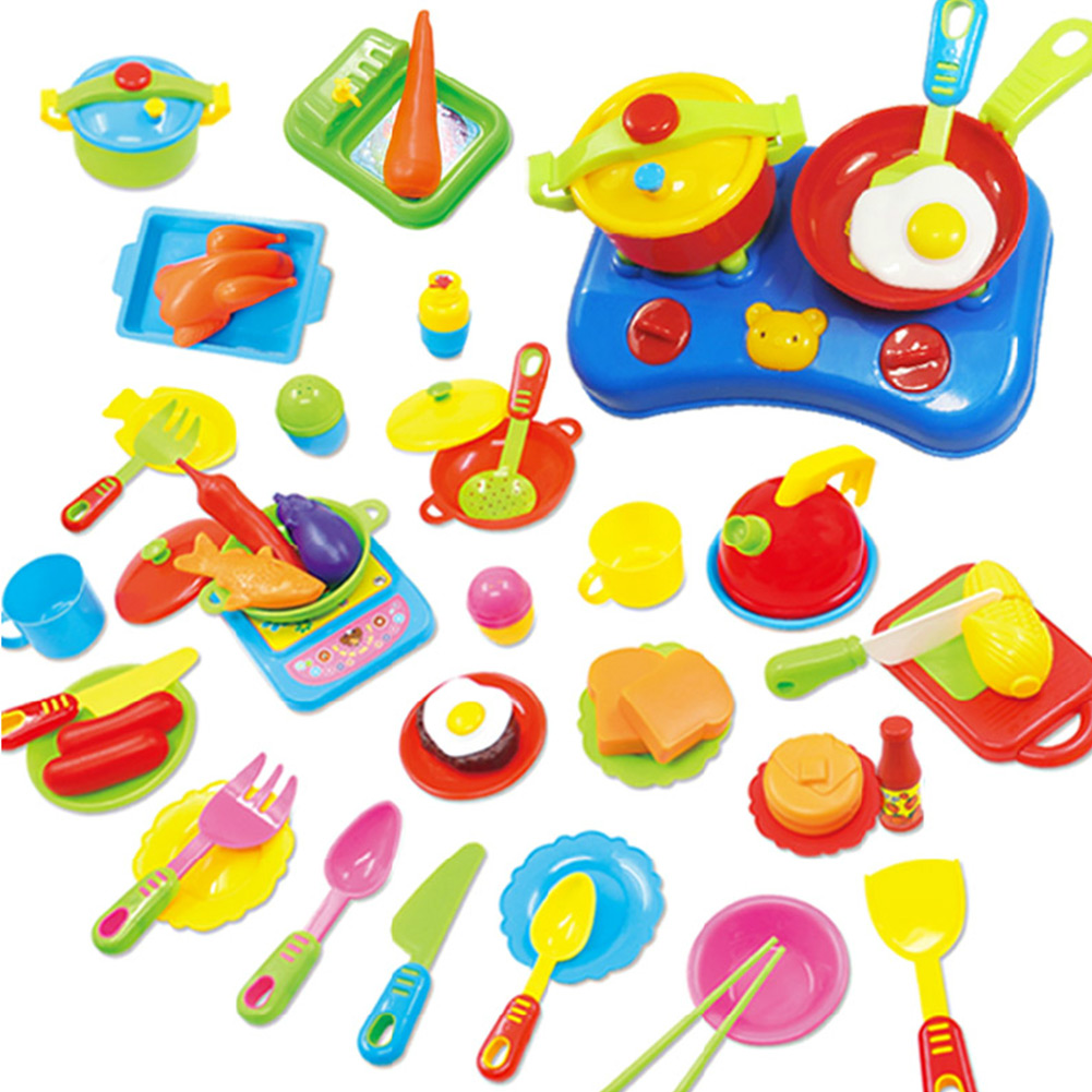 Toy Food And Dishes : Set educational pretend play kitchen ware plastic