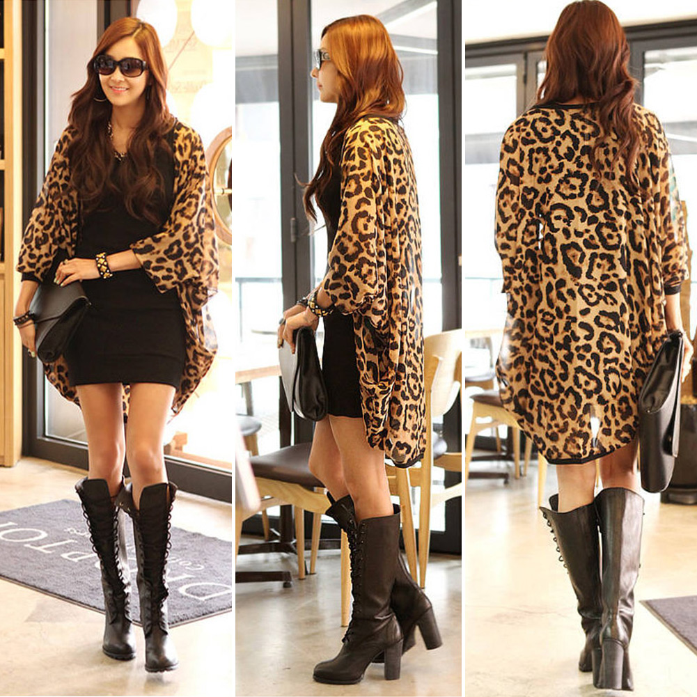 Womens-Leopard-Chiffon-Batwing-Sleeve-Casual-Cardigan-Tops-Shirt-New-Sexy
