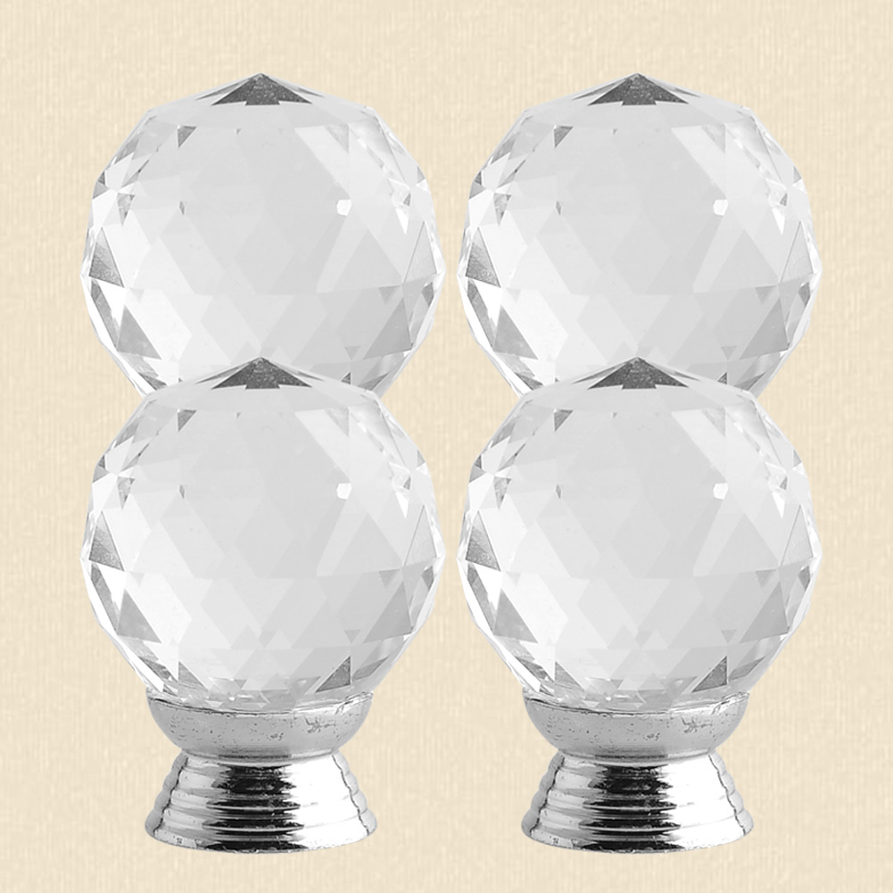 4pcs 30mm round glass crystal door knob handle for cabinet for Knobs for bureau