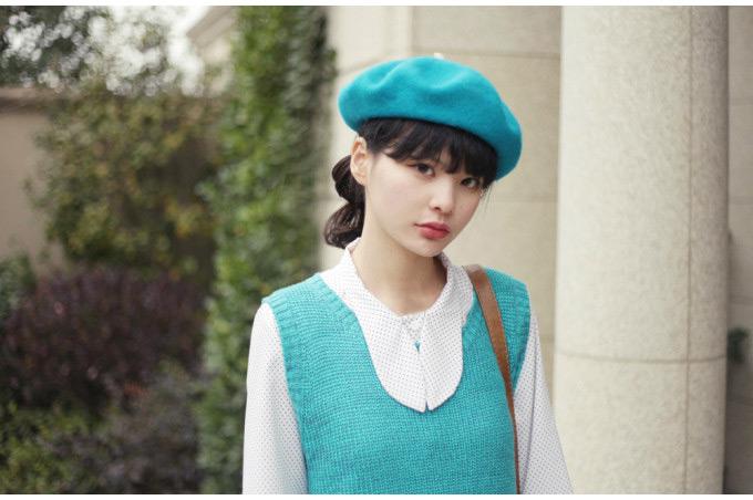 Brand Colors Winter Women Beret Beanie Hat Cap Baggy Lovely Wool Vintage