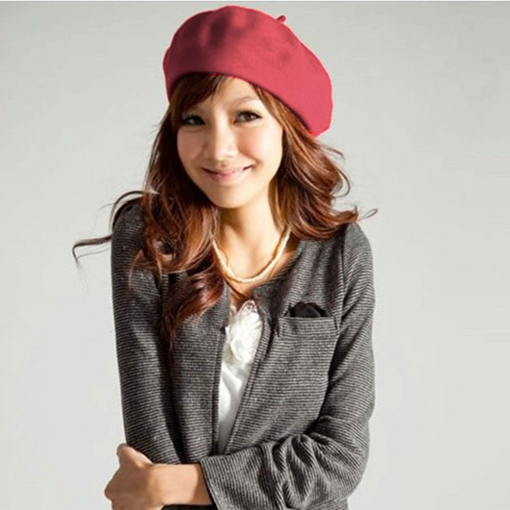Brand-Colors-Winter-Women-Beret-Beanie-Hat-Cap-Baggy-Lovely-Wool-Vintage