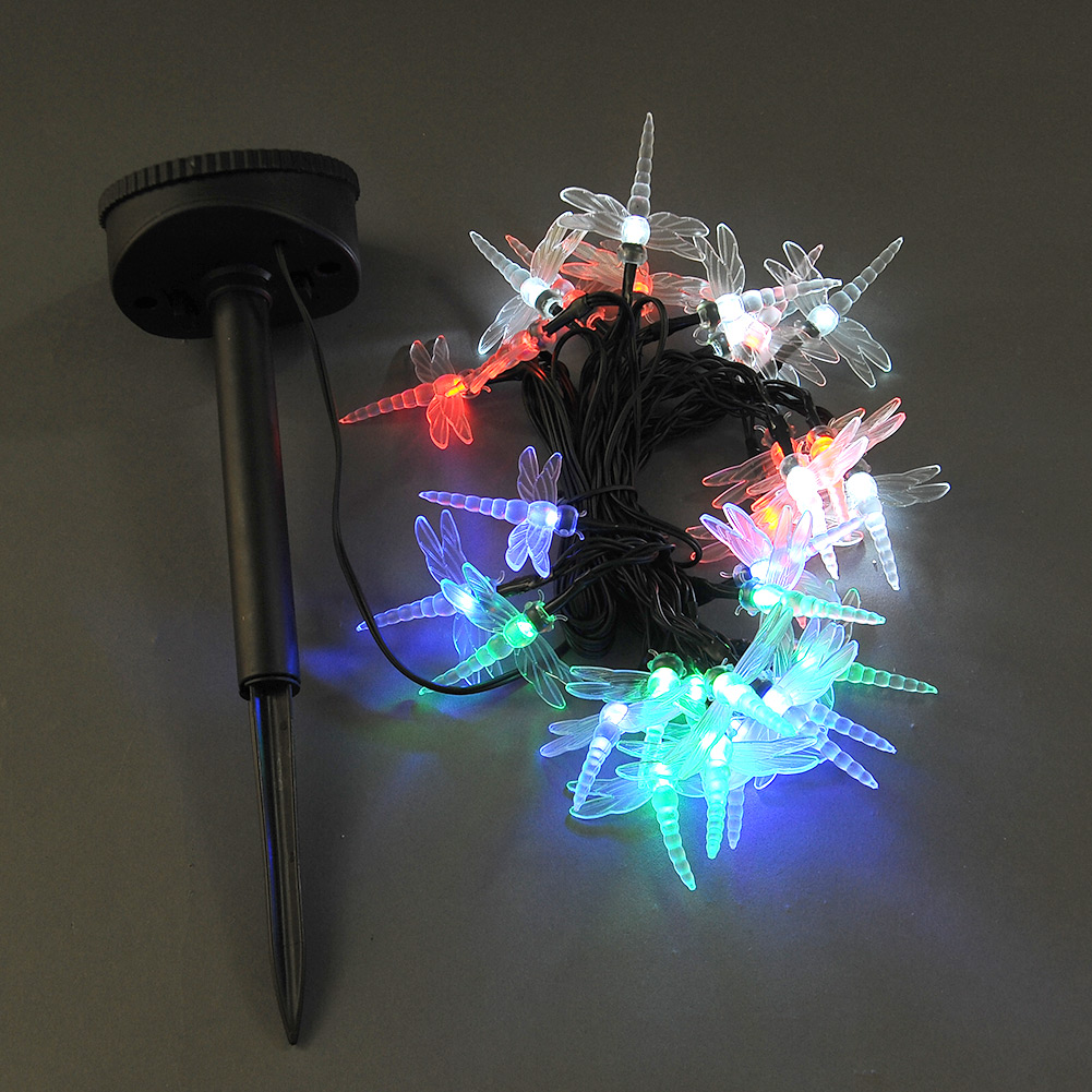 Solar Powered LED Outdoor Garden String Dragonfly Light Xmas Christmas Deco
