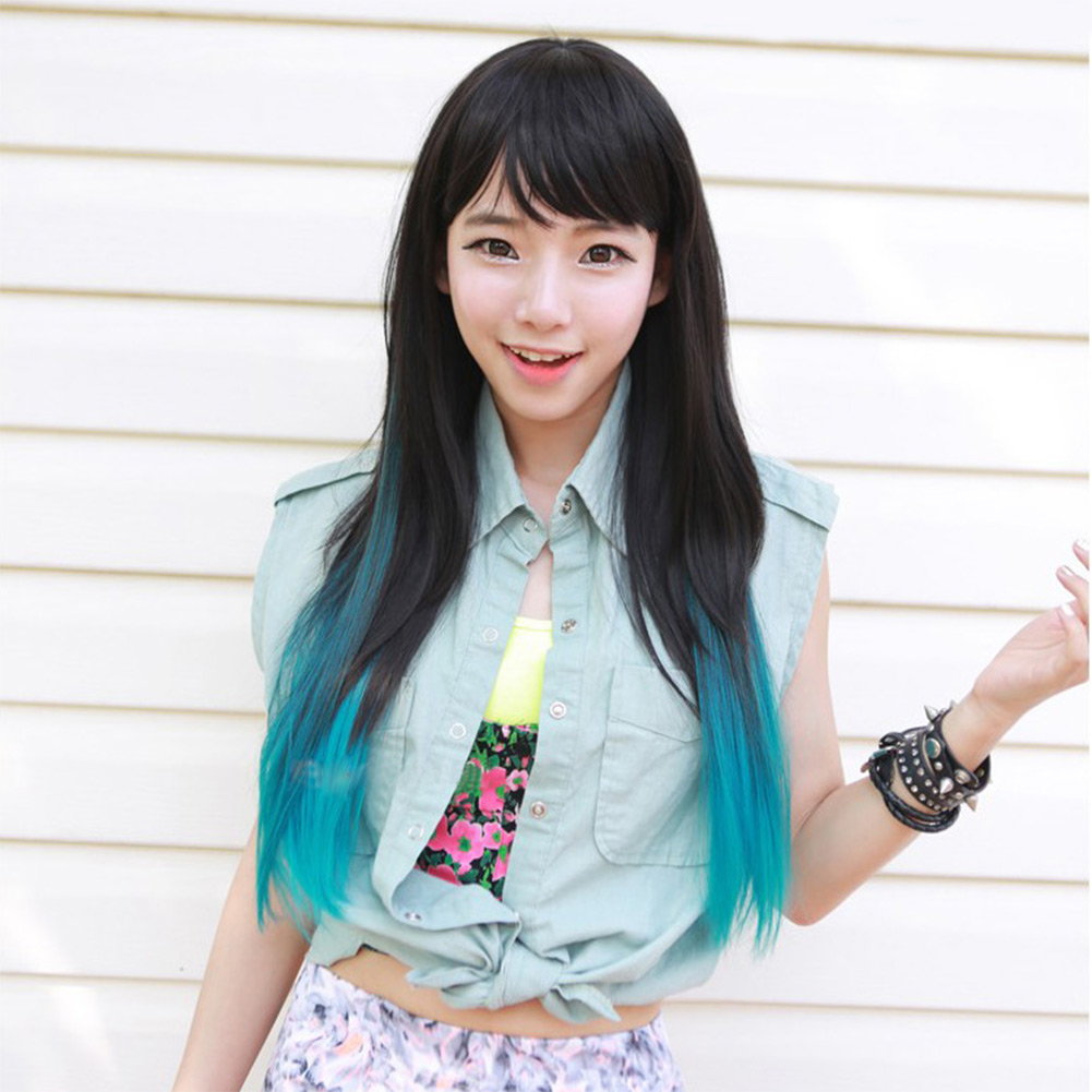 1pcs Trendy Colorful Rainbow Straight Curly Synthetic Hair Extension Clip-On Wig