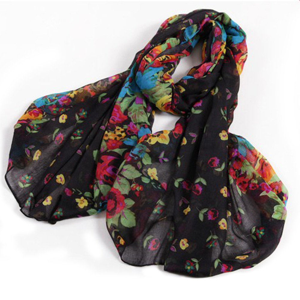 Vintage-Fashion-Womens-Ladies-Floral-Flower-Scarf-Shawl-Stole-Wraps-Scarves