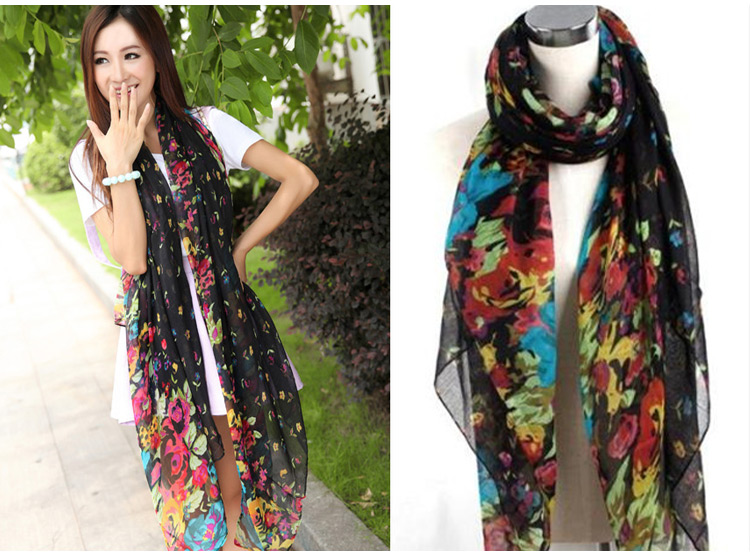 Vintage Fashion Womens Ladies Floral Flower Scarf Shawl Stole Wraps  Scarves