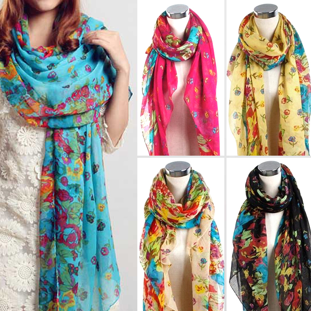 pretty fashion beautiful womens floral flower scarf shawl