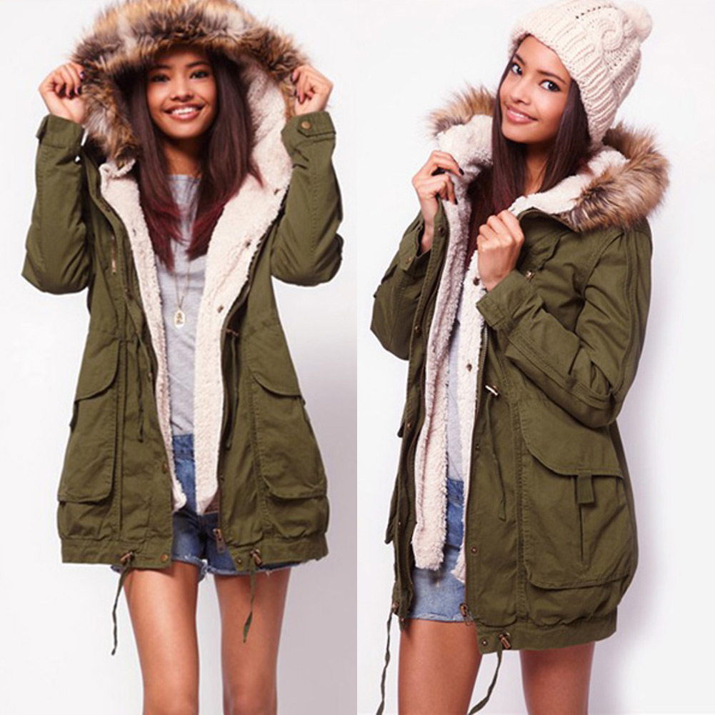Womens Slimming Ladies Winter Warm Army Coat Fleece Jacket ...