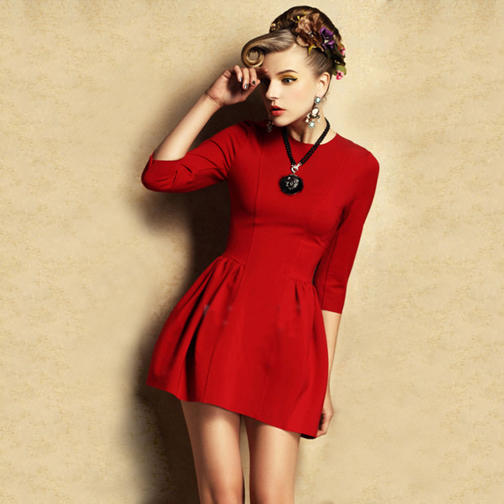 Hot Retro Ladies*Womens Dress Bodycon 3/4 Sleeves Elastic Slim Empire Waist