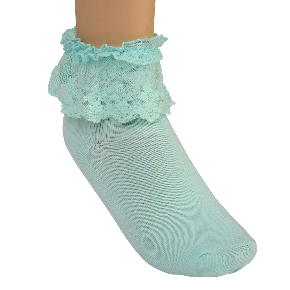 New Vintage Lace Ruffle Frilly Ankle Socks Ladies Princess ... Ruffled Socks
