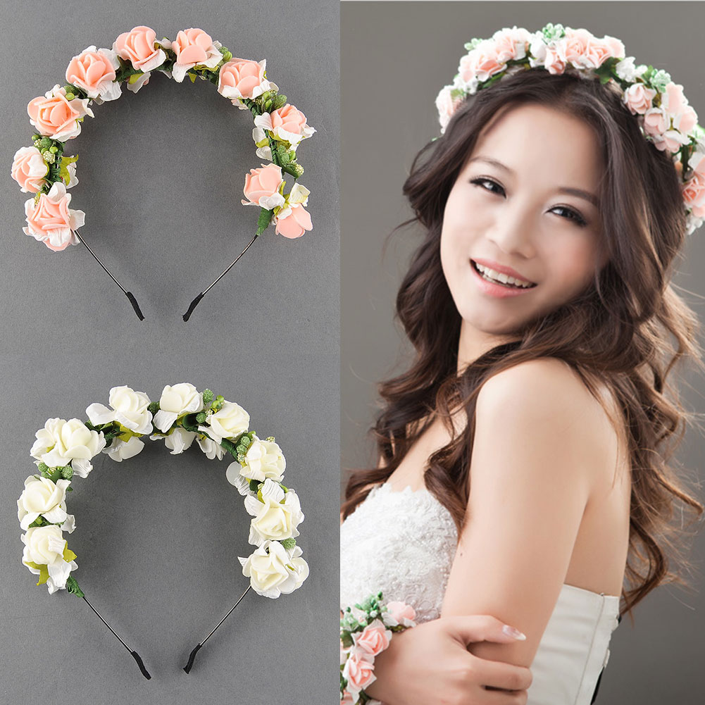 flower garland floral bridal headband wedding party festival hair accessories. Black Bedroom Furniture Sets. Home Design Ideas