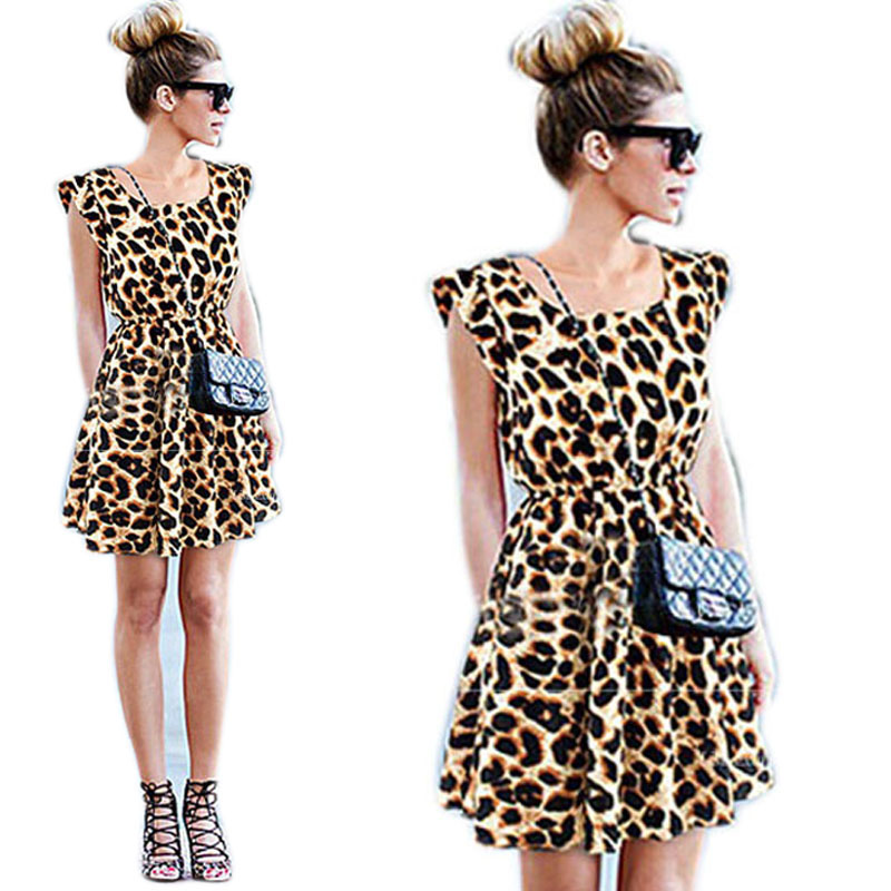 Fashion Women Sleeveless Crew Neck Party Cocktail Evening Leopard Dress M/L/XL