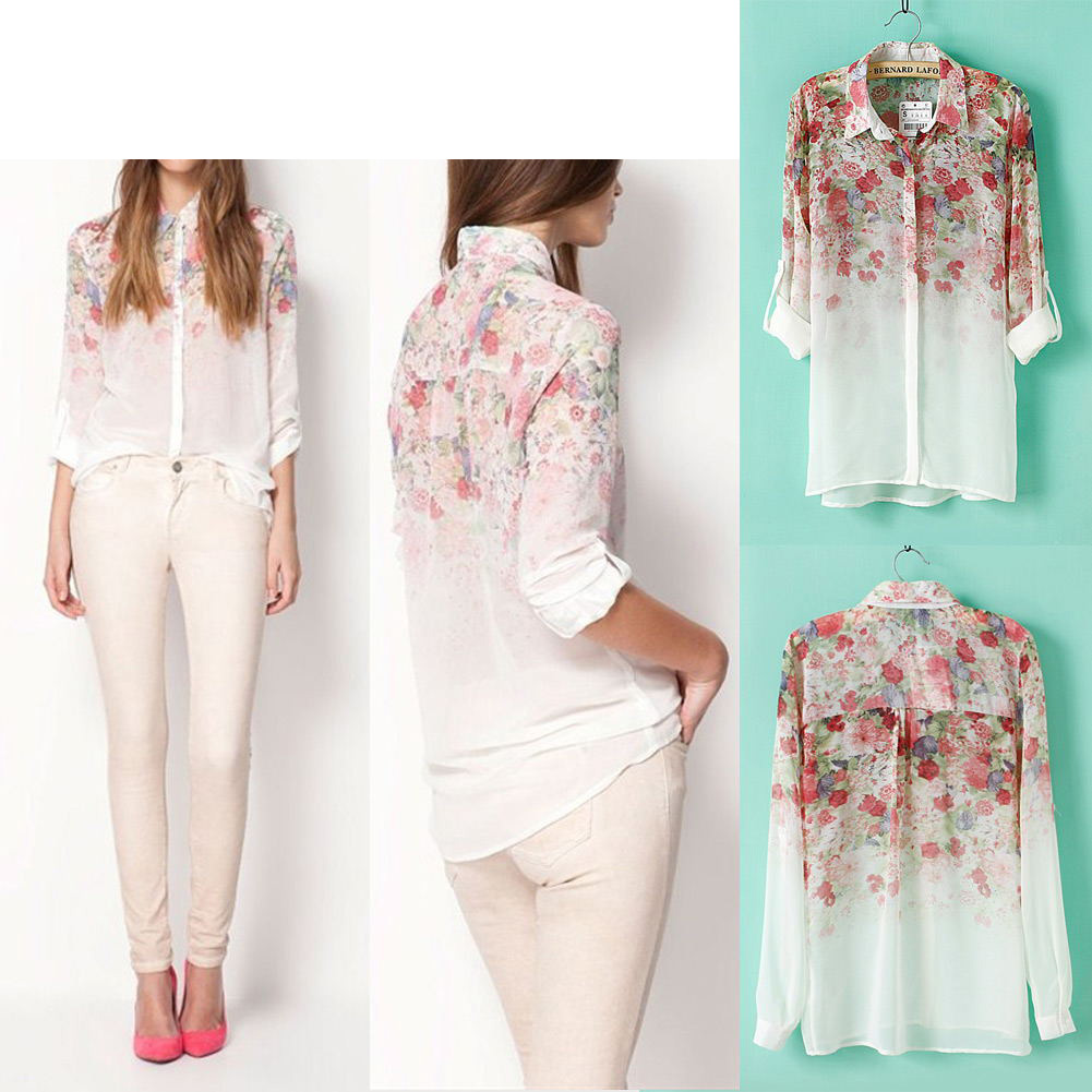 New Women Girl Lapel Collar Flowers Chiffon Long Sleeve Shirt Blouse Tops