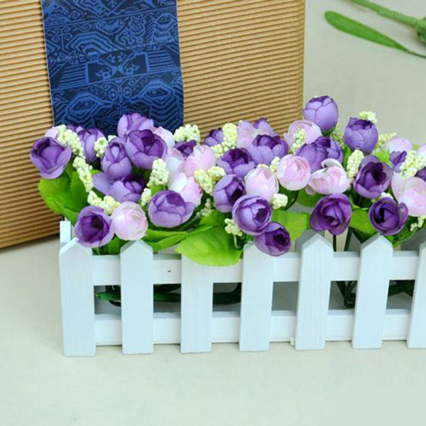 Beautiful Artificial Silk Roses Flowers Bouquet Wedding Party 15 Heads